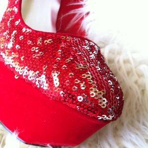 "Qupid Shoes - 💋Red sequin glitter platform 5"" stiletto"